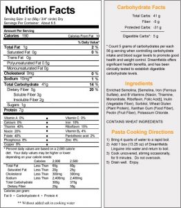 Dreamsfields Linguine Nutritional Label