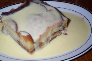 Low Carb Carbalose Bread Pudding-Vanilla Cream Drizzle