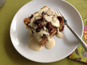 Low Carb Carbalose Cherry Almond Bread Pudding