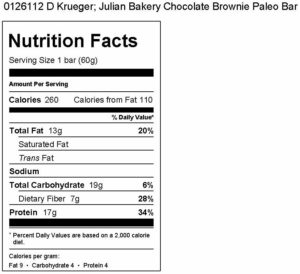 0126112 D Krueger; Julian Bakery Chocolate Brownie Paleo Bar