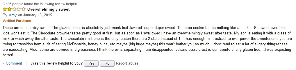 Amy Hidden Julian Bakery Review on Amazon