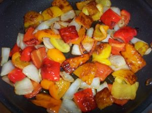 Blistered Bell Peppers And Onions