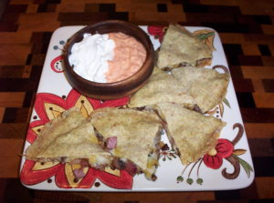 Low Carb Mushroom Ham Cheese Quesadillas