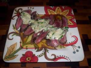 Flank Steak/Garlic Blue Cheese Butter